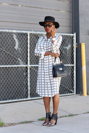 checked dress - black hat - black bag - Faux Snakeskin bracelet