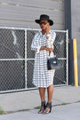 Checked-dress-black-hat-black-bag-faux-snakeskin-bracelet