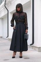 black bag - black sunglasses - black skirt - black heels - black top
