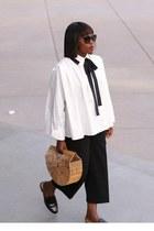 black sunglasses - white blouse shirt - Bamboo bag - black pants - gold bracelet