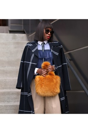 Tulle blouse - Silk blouse - plaid coat - Faux fur bag