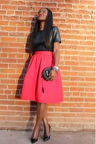 Red skirt - Canteen sunglasses - patent heels - leather top
