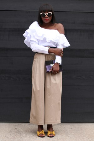 khaki pants - yellow shoes - Color-block sunglasses - White ruffle top