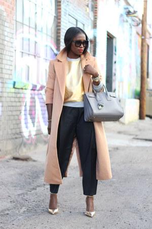 gold heels - asos coat - Saint Laurent Paris bag - Relaxed Culottes pants