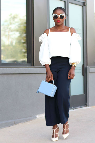 White Cold Shoulder top - mark cross bag - Urban Outfitters sunglasses