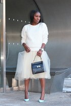 balenciaga bag - Winter White sweatshirt - baby blue heels - Tulle skirt