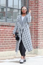 River Island coat - Prada shoes - Black Leather bag - christian dior sunglasses