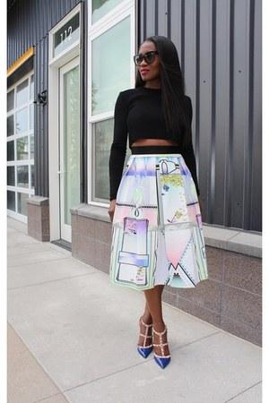 River Island skirt - Chanel bag - Valentino heels - Zara top