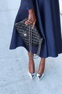 Silver-metallic-shoes-blue-dress-black-bag