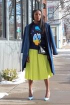asos skirt - Urban Outfitters coat - asos sweatshirt - Manolo Blahnik heels