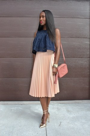 Zara skirt - Gucci bag - Zara top - Jcrew heels