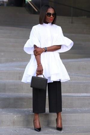 black bag - black sunglasses - white blouse - Black Patent heels - black pants