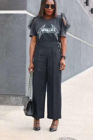 Chanel bag - high waist pants - Valentino heels - Metallica t-shirt