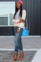 Jcrew blouse - Missoni hat - Reed Krakoff bag