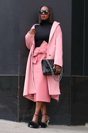 pink coat - Black  Emellished shoes - Karen Walker sunglasses - black top