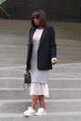 White-dress-black-blazer-black-bag-prada-sunglasses-grey-skirt