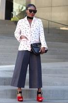 black bag - Red shoes - black sunglasses - black pants - Pajama Style top