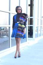 Faux fur scarf - Blue Skater dress - Black Turtleneck top - Black Classic heels