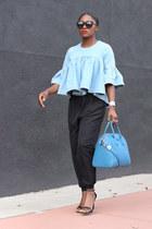 Denim Frill top - Blue Givenchy bag - Black Karen Walker sunglasses