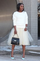 Of white skirt - black bag - baby blue heels - Off White sweatshirt
