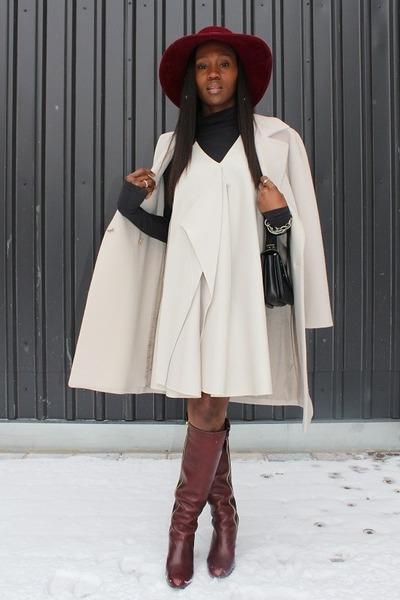 Hugo Boss coat - Chloe boots - 31 Phillip Lim dress - Patricia Underwood hat