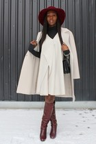 Hugo Boss coat - Chloe boots - 31 Phillip Lim dress - Patricia Underwood hat