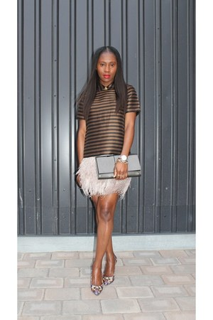 Topshop skirt - Yves Saint Laurent bag - Jcrew heels - madewell top