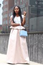 pink skirt - Blue bag - white sunglasses - Jcrew t-shirt - white heels