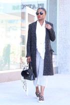 cashmere pants - Xoox coat - Janessa Leone hat - Topshop shirt - balenciaga bag
