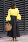 Yelloe-bow-shoes-bamboo-bag-black-pleated-skirt