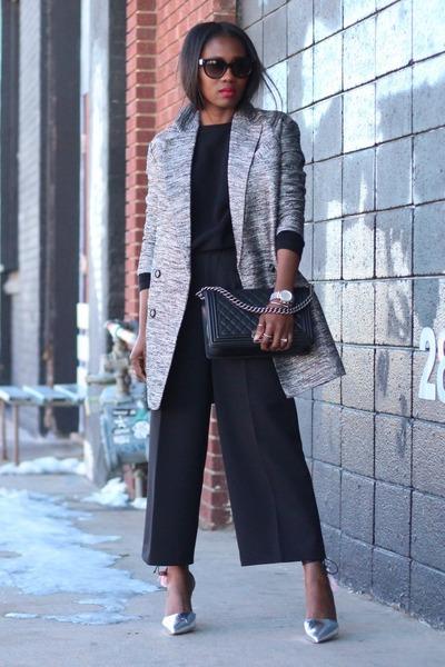 metallic coat - black bag - black pants - metallic heels