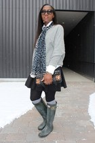 Moschino scarf - Hunter boots - calvin klein sweater - PROENZA SCHOULER bag