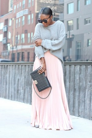 Sheinside skirt - banana republic sweater - Chanel bag - Karen Walker sunglasses