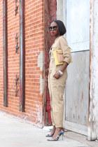 yellow bag - black sunglasses - Multi-colored heels - tan romper