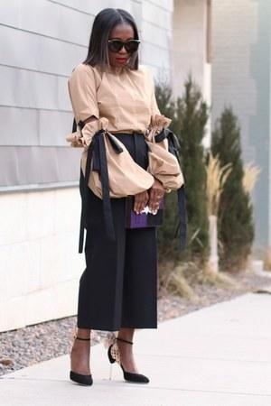 statement bag - Karen Walker sunglasses - statement heels