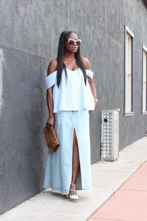 Gingham top - Yves Saint Laurent bag - denim skirt - Valentino heels