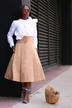 Gingham shoes - Bamboo bag - black sunglasses - tan skirt - white top