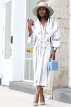 Grey straw hat - mark cross bag - free people romper - Manolo Blahnik pumps