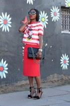 black bag - Red skirt - Black fringe heels - Sequin top