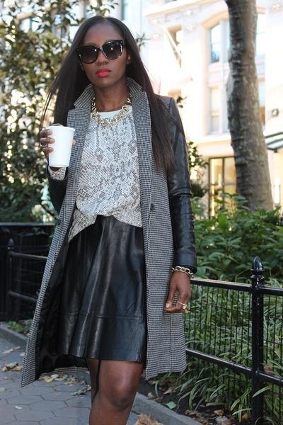 Zara jacket - Rebecca Taylor sweater - Prada sunglasses - Miss Wu skirt
