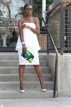 white dress - Multi-colored bag - white heels