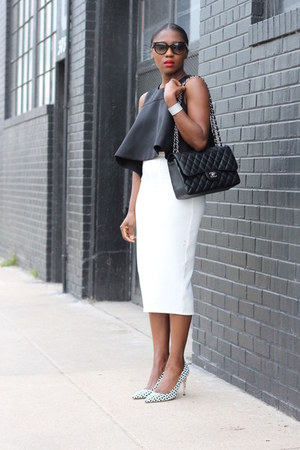 Chanel bag - black sunglasses - Graphic heels - white skirt - babydoll top