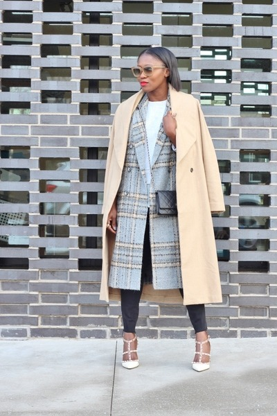 asos coat - madewell jeans - Chanel bag - River Island vest - Valenitino heels