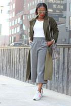 Sheinside coat - grey bag - Yves Saint Laurent bag - dior sunglasses