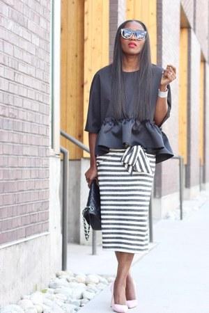asos skirt - Chanel bag - Karen Walker sunglasses - Manolo Blahnik heels