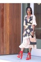 Red shoes - Floral wrap dress - Tri-color celine bag - black sunglasses