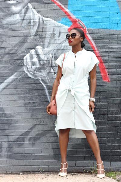 Corey Lynn Calter dress - Gucci bag - Prada sunglasses - Valentino heels