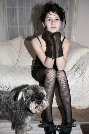 black dress - black tights - black Betty Jackson shoes - gray The Chanel Of Dogs