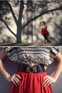 Cowboy-boots-red-pleated-skirt-waist-belt-tribal-top