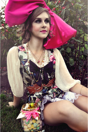 hot pink Handmade Bow accessories - Floral & Pearl dress - Waist belt
